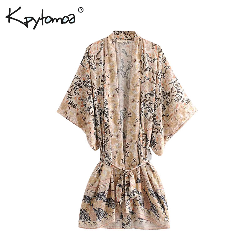 Boho Chic Summer Vintage Floral Print Sashes Cardigan Kimono Women 2019 Fashion V Neck Loose Beach   Blouses     Shirts   Femme Blusas