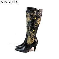 Mode rivets floraux en cuir véritable femmes automne bottes talons hauts chaussures femme genou haute botte