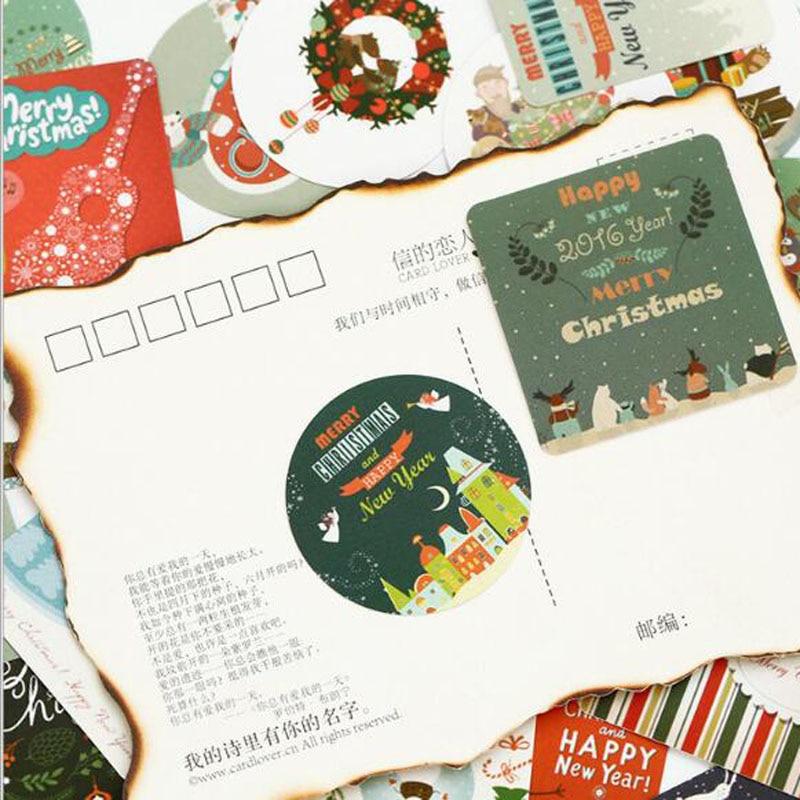 Купить с кэшбэком 46pcs/box Christmas Greeting Stickers Travel Decorative Stationery Stickers Ocean whale sticker Scrapbooking DIY Diary Album