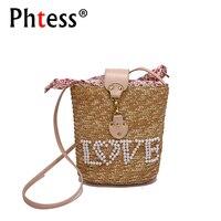 Small Love Letter Straw Bucket Bags Female Crossbody Bags For Women Summer 2018 Beach Bag Straw