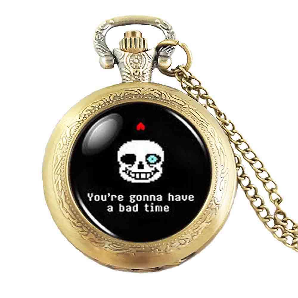 Санс плохой время игры игровой моды Цепочки и ожерелья карманные часы латунь Серебряный кулон стимпанк украшения для женщин цепь игрушки д...
