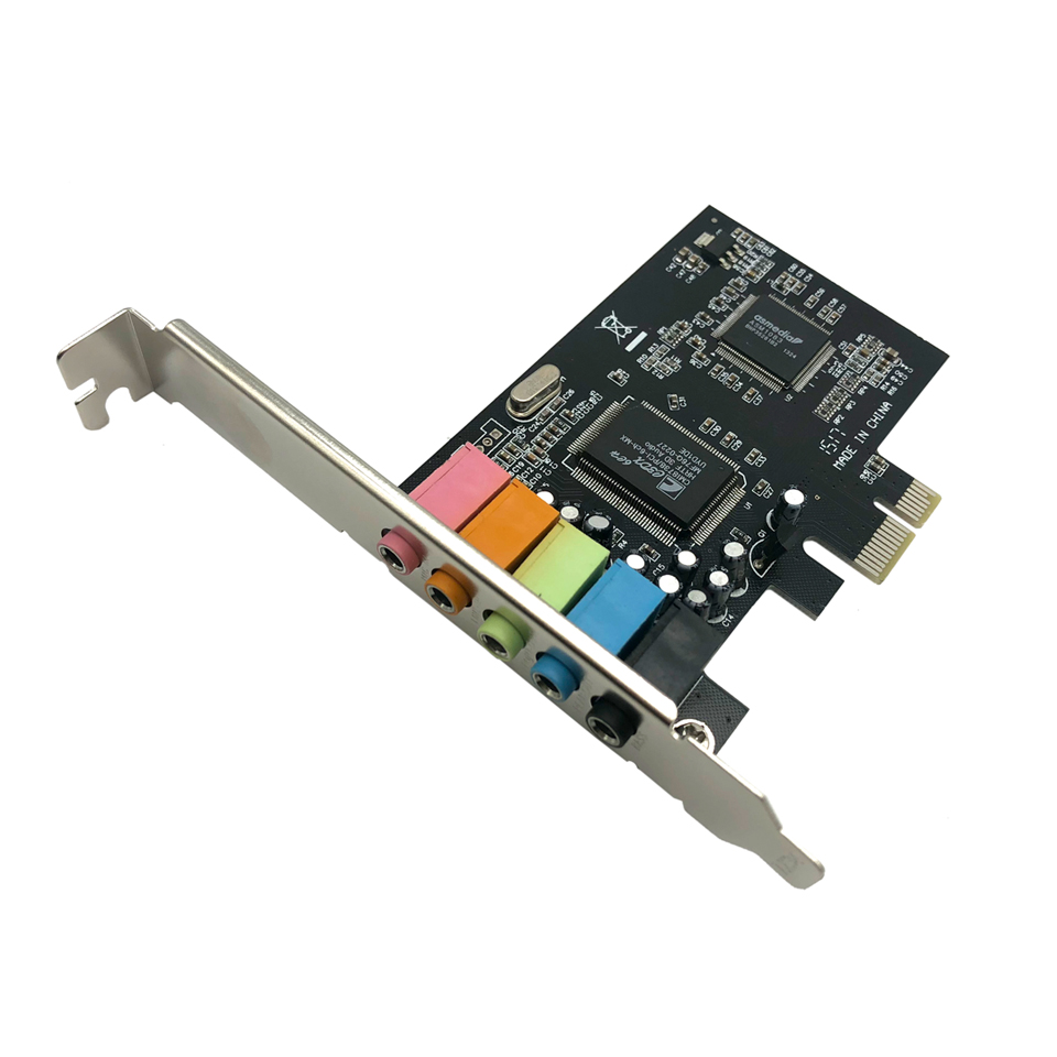 PCI-E Sound Card Audio Interface 5 Port PCI Express 5.1 Channel Stereo Surround Sound Card 3.5mm Audio Card Adapter for Computer Звуковая карта
