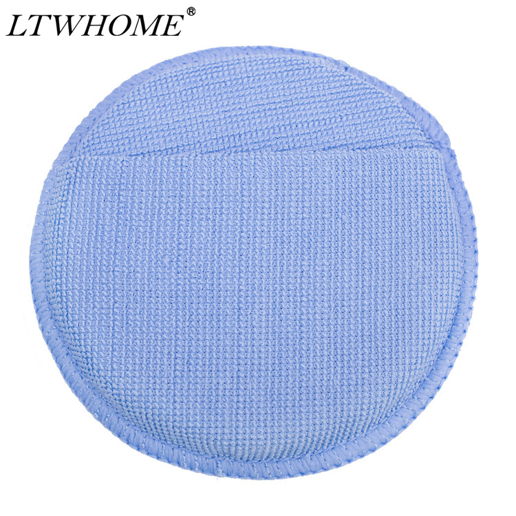 LTWHOME Blue Microfiber Wax Polish Applicator Cleaning Detailing Foam Sponge Pad with Finger Pocket for Cars