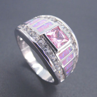Fashion 925 Silver Plated Ring For Women Wedding Jewelry Fashion Designs Ring For Party Pink Opal
