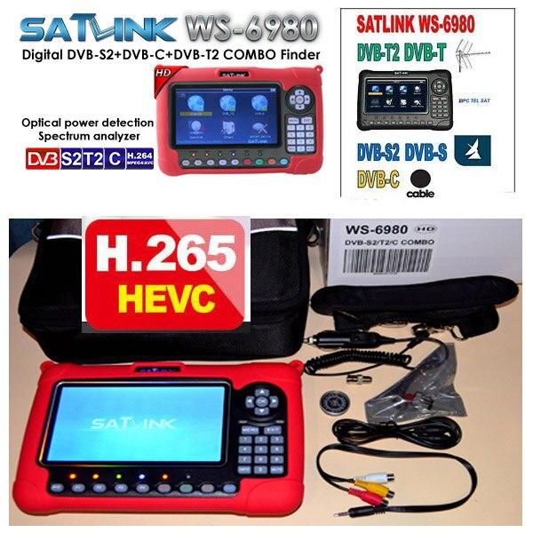 Combo satlink localizador ws6980 DVB-S2/C + COMBINAÇÃO de detecção Óptica DVB-T2 ws-6980 Espectro satlink metros localizador via satélite