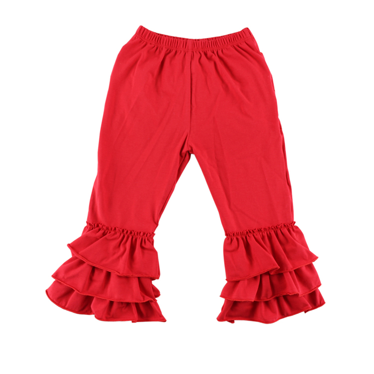 Hot Red Color Toddler Infant Triple Ruffle Leggings Baby