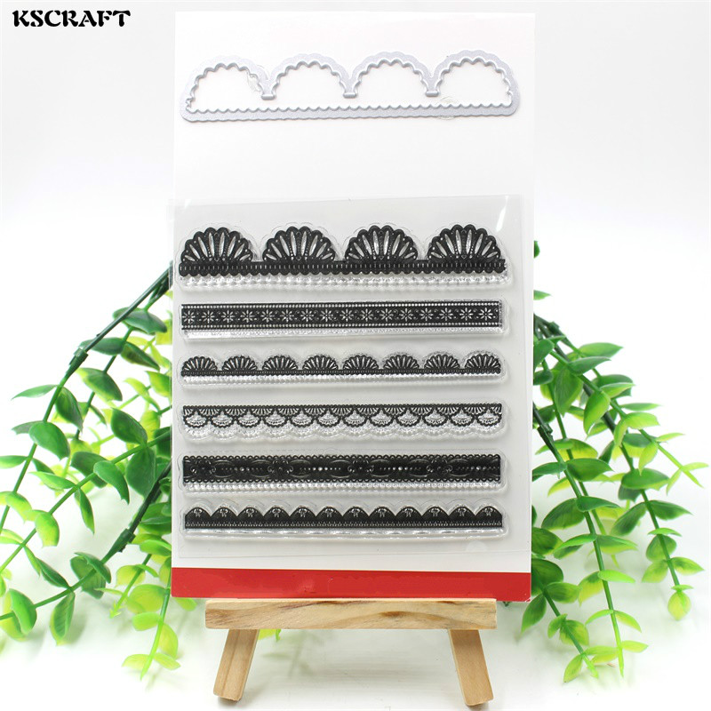 KSCRAFT Lace Edge Transparent Clear Silicone Stamp And Cutting Dies Set for DIY scrapbooking/photo album Decorative kitmmm5910121296unv20630 value kit highland transparent tape mmm5910121296 and universal perforated edge writing pad unv20630