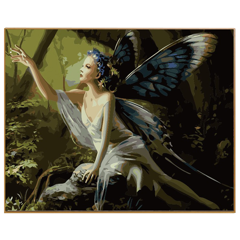 PHKV Beautiful Woman With Wings Diy Picture Paint On Canvas Diy Digital Oil Painting By Numbers Drawing Home Decor Wall Arts