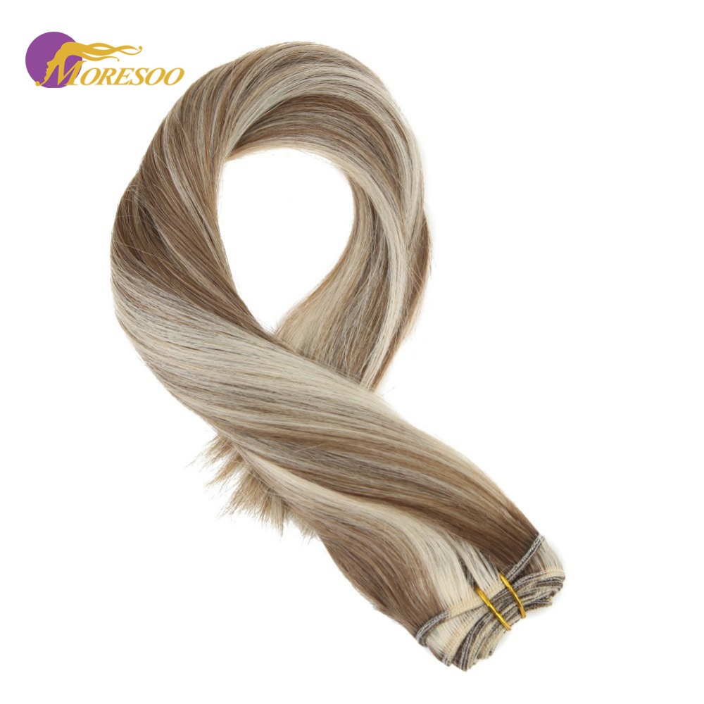 Moresoo Hair Weaving Machine Remy Human Hair #6 Highlighted With #60 Blonde Premium Weft Sew In Bundles Straight 14-24 Inch 100G