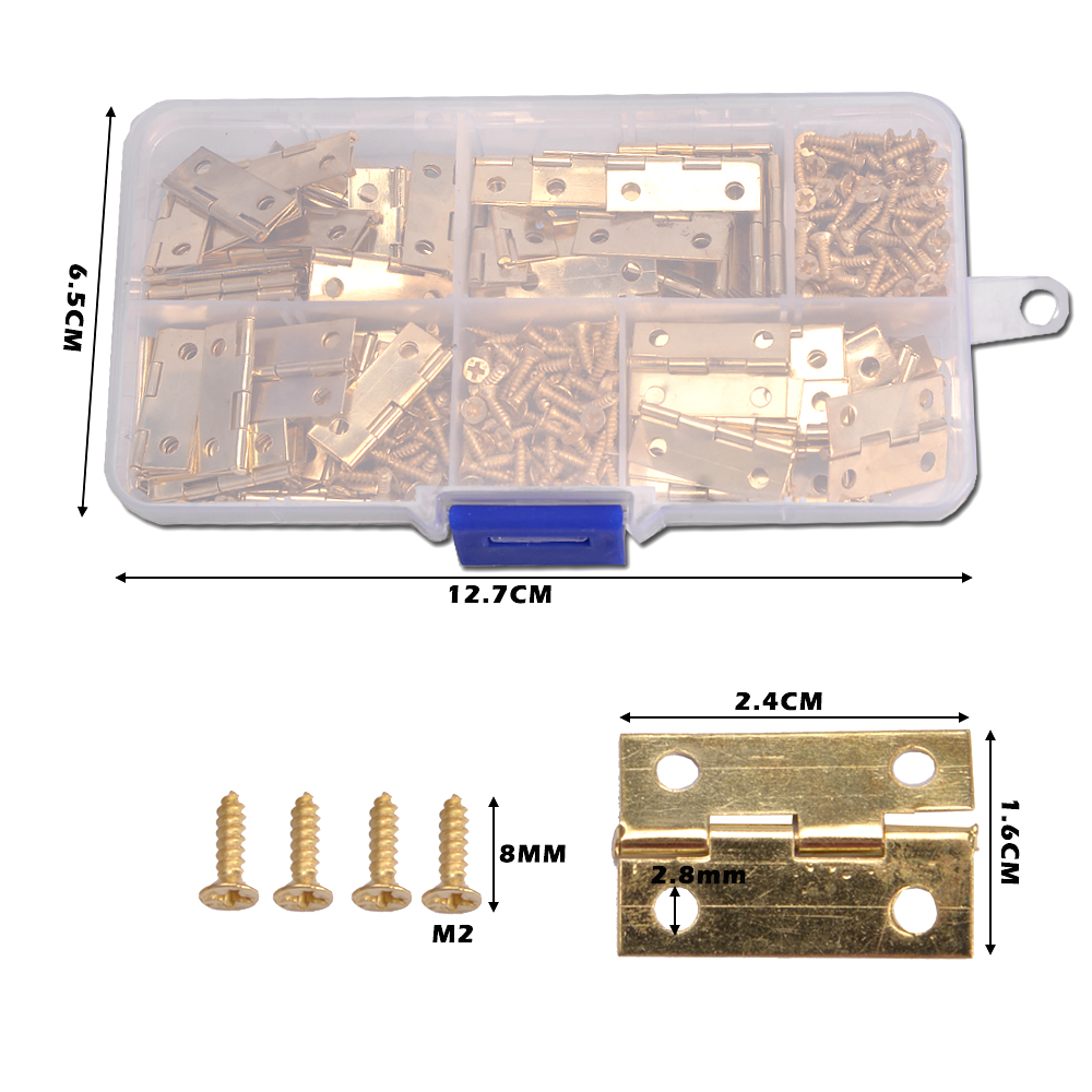 100pcs Mini Butt Hinges 24mm*16mm and 400pcs Screws (Bronze/Golden) with Plastic Box, Miniature Furniture Cabinet Small Hinges