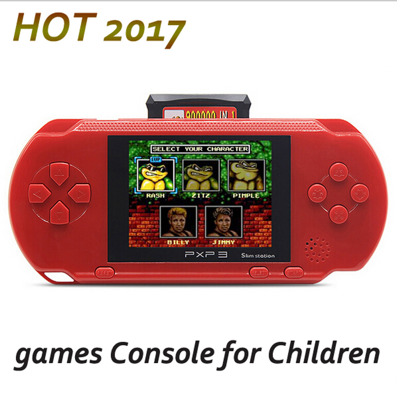 HOT 16 Bit PXP3 Handheld Game Player Video Game Console with AV Cable 2 Free Game Cards Classic Child Games Slim Station Child