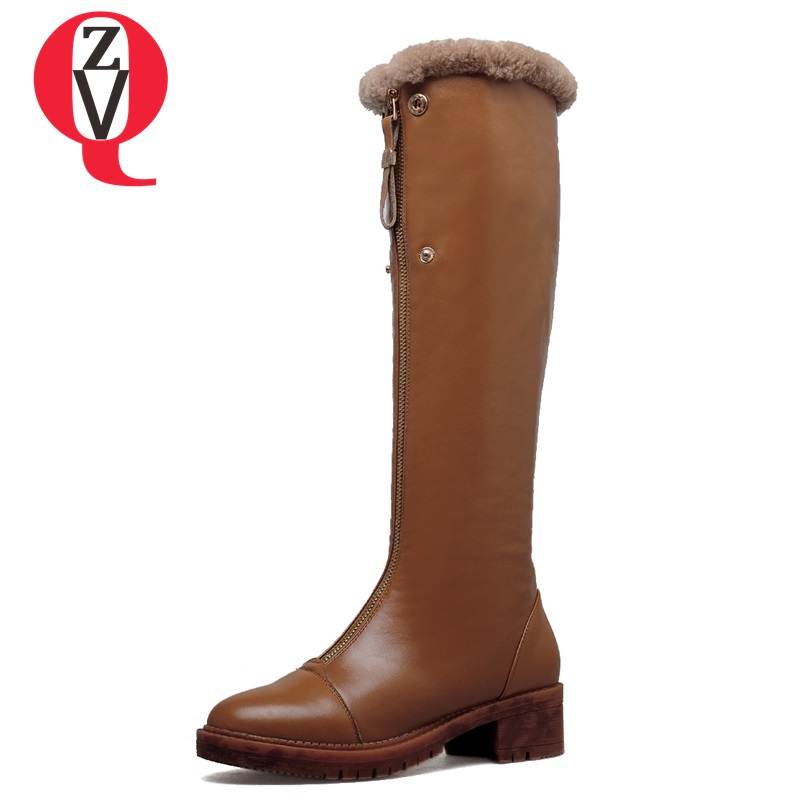 ZVQ winter knee high boots woman mid heel round toe ladies warm shoes real fur genuine leather foot upper women boots heels zvq winter knee high boots woman mid heel round toe ladies warm shoes real fur genuine leather foot upper women boots heels