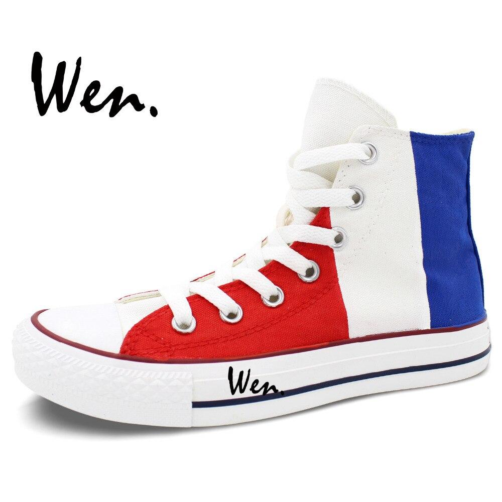 Wen Ručno oslikane cipele Dizajn Custom Vertical Francuska zastava - Tenisice - Foto 4