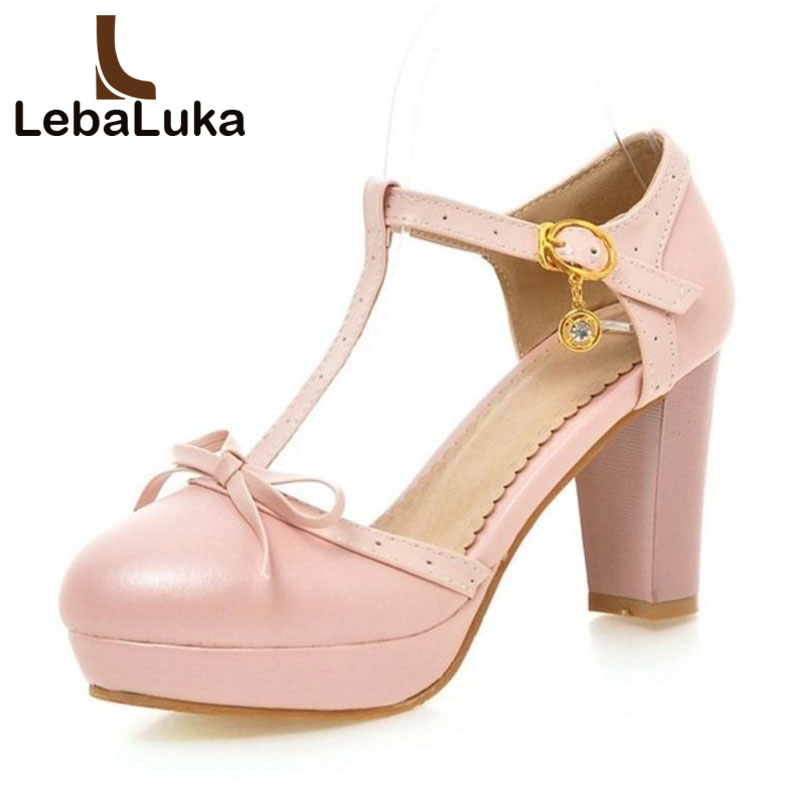 Lebaluka Size 32-43 Women T Strap Sandals Buckle Thick High Heels Bowknot Shoes Women Platform Sandalias Lady Party Footwear trendy splicing women s sandals with t strap and bowknot design