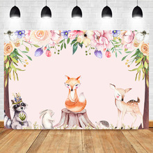 цена на Woodland Birthday Backdrop Safari Animal First Birthday Party Photography Background Sweet Table Baby Shower Banner Backdrops