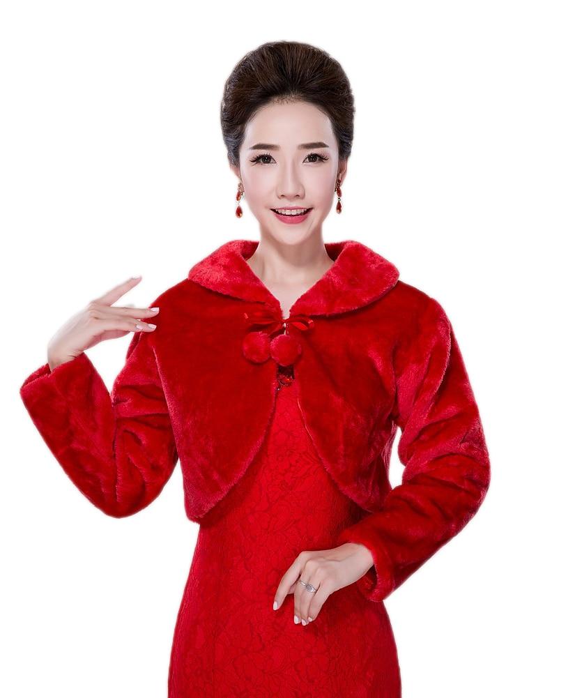 vente chaude chaud rouge de marie veste wraps fausse fourrure de mariage manteau shrug chlecharpe femmes bolero faux toles - Bolero Fourrure Mariage Pas Cher