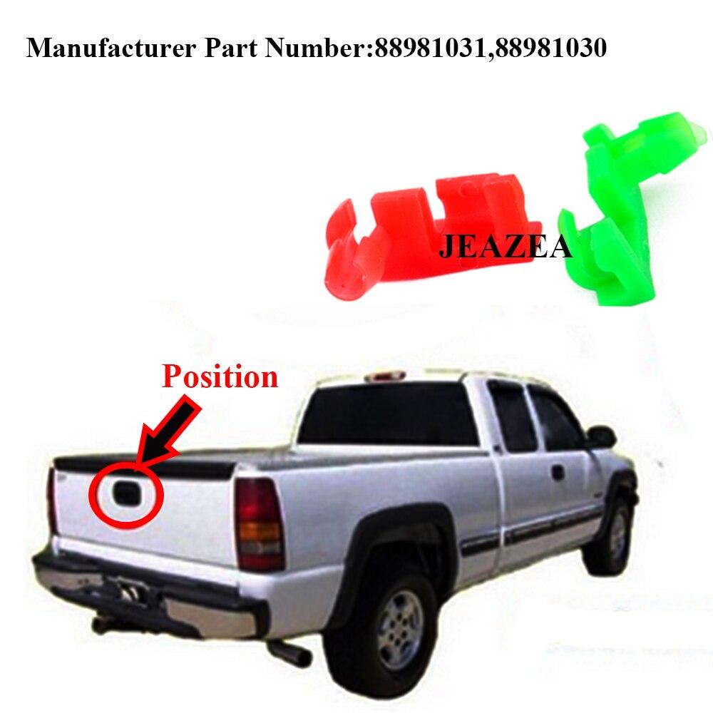 JEAZEA 2Pcs 88981031 88981030 Left Right Plastic Tailgate Handle Rod Clip For Chevrolet Silverado GMC Sierra 2004 2005 2006