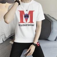 2018 Korte mouwen T-shirt mannen ronde tie losse zomer han editie trend van pure kleur en body shirt fashion Gratis verzending