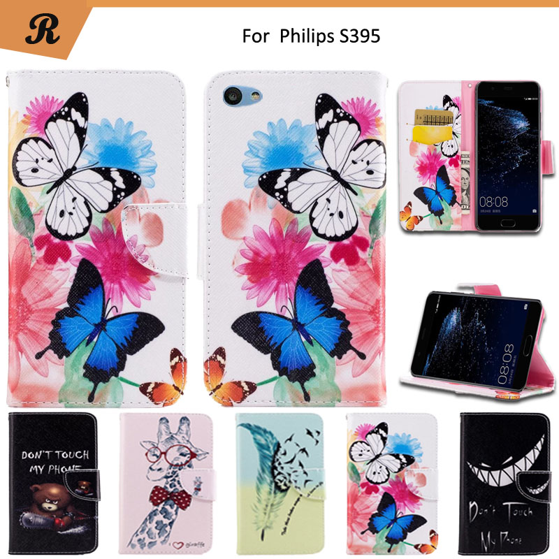 Painted Wallet Flip Case For Philips S395 PU leather Card Slot Stand bag High Quality Cover fundas with Strap
