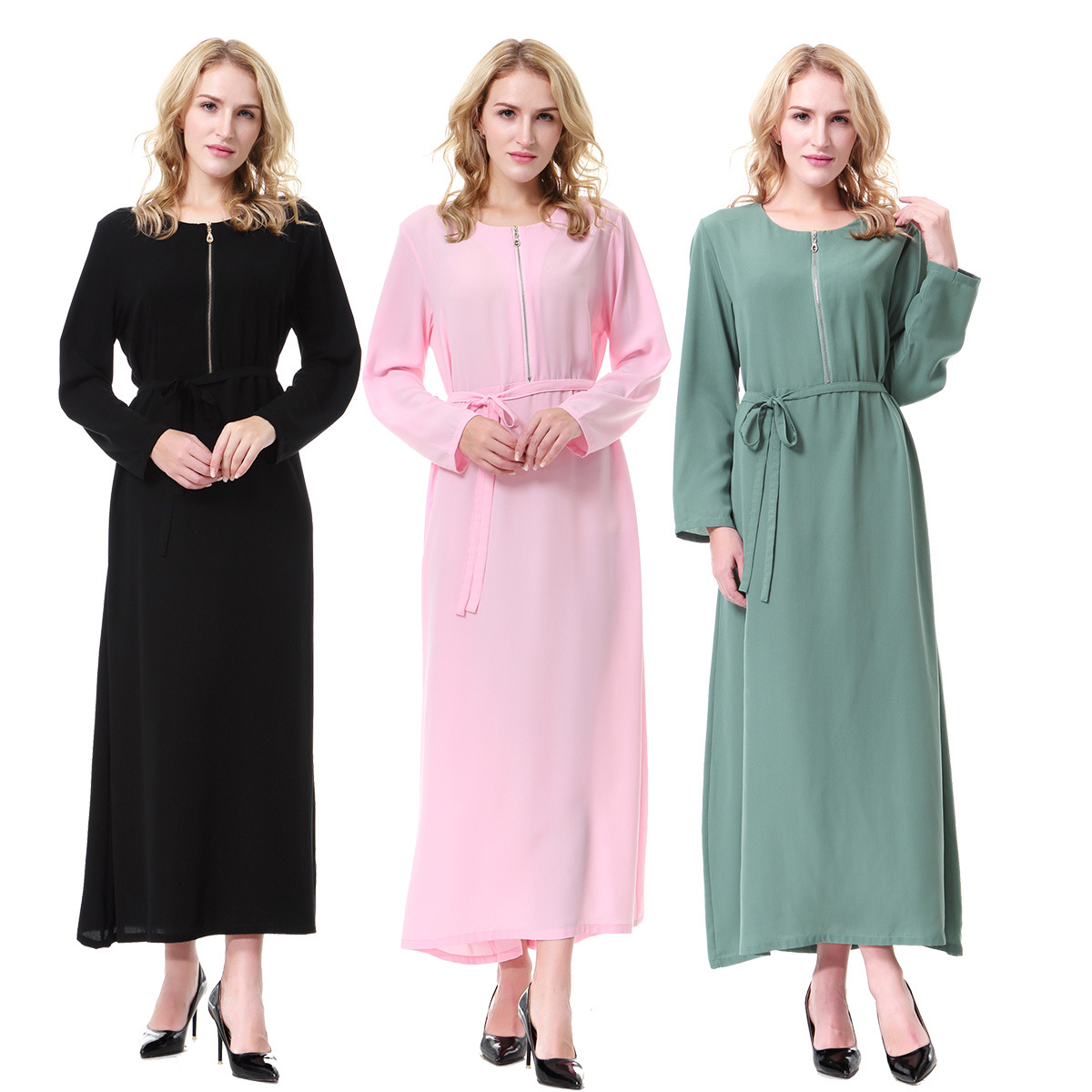 Summer Solid Color Abaya Muslim Long Full Sleeve Abaya Dress Islamic Muslim Clothing Women Adults Islamic Dress