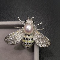 8 9MM natural sea water pearl brooch pins akoya pearl copper with cubic zircon bee brooch pendant double use fashion jewelry