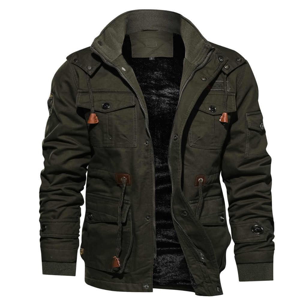 真新しい冬ジャケット男性ミリタリースタイルマルチポケット厚いパーカー男性プラスサイズ M-4XL 冬コート男性パーカーボンバージャケット