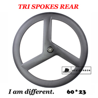 Rear Wheel 700C 60mm Tri spokes Road Bike Tubular/Clincher Carbon 3 Spoke Wheels Tubeless Compatible Track Fixed Gear UD 3K 12K