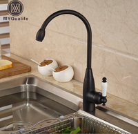 Single Ceramic Handle Kitchen Mixer Faucet Deck Mount Rotation Goose Neck Kitchen Hot And Cold Water