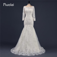 Ruolai Real Luxury Wedding Dresses 2019 Long Sleeves Scoop
