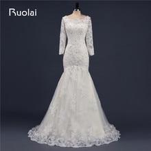 Ruolai Real Luxury Wedding Dresses 2019 Long Sleeves Scoop