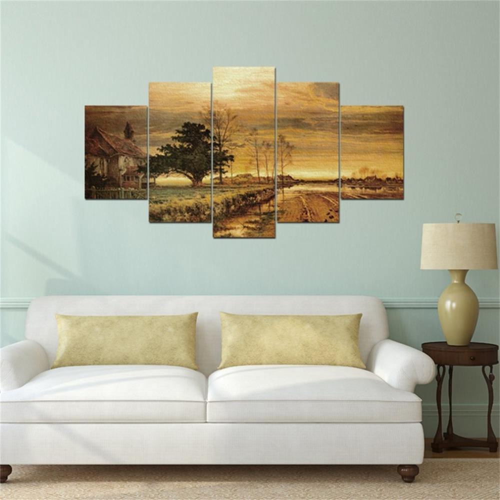 Canvas Wall Art Pictures Living Room 5 Pieces/SET Landscape Scenery Paintings Home Decor HD Printed Pictures for Home