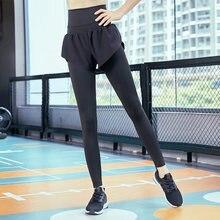 e802c8686 Pantalones de Yoga de dos piezas falsas Pantalones deportivos ajustados para  correr de secado rápido Leggings