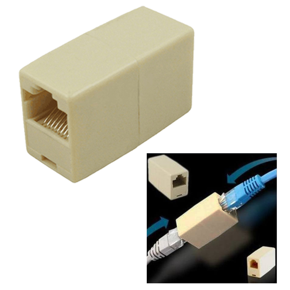 Both jacks accept one RJ-45 plug, allowing you to plug an Ethernet cable  into both sides. The connector only, cables are not included. Size: 3.2 x 2  x 1.5cm