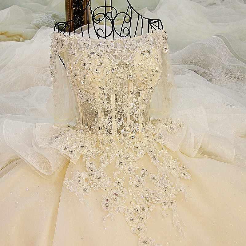 LS01178 свадебное платьесамые последние платья венчания шампанского от плеча bling вышитый бисером rhinestone шарик платья пухлые мантии кружева свадебное платье