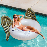 Hot Giant Angel Wings Inflatable Pool Float Gold White Air Mattress Lounger Water Party Toy Ride on Butterfly Swim Ring Pool Toy