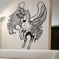 Horse With Wings Wall Stickers Flying Horse Wall Decals Animals Home Decor Nursery Removable Living Room
