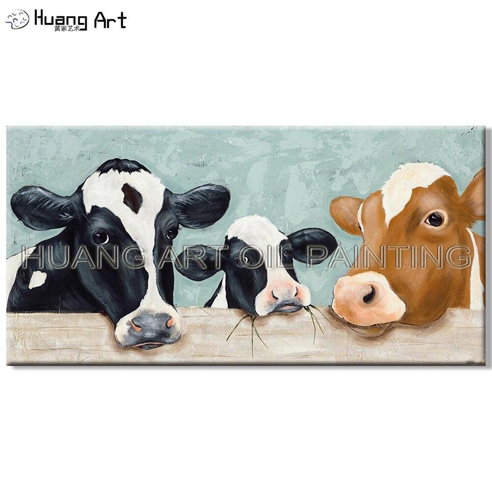Drôle Conçu 3 Vache Famille Peinture À L'huile sur Toile Artiste Main-peint Drôle Animaux Vaches Peinture À L'huile pour le Salon chambre