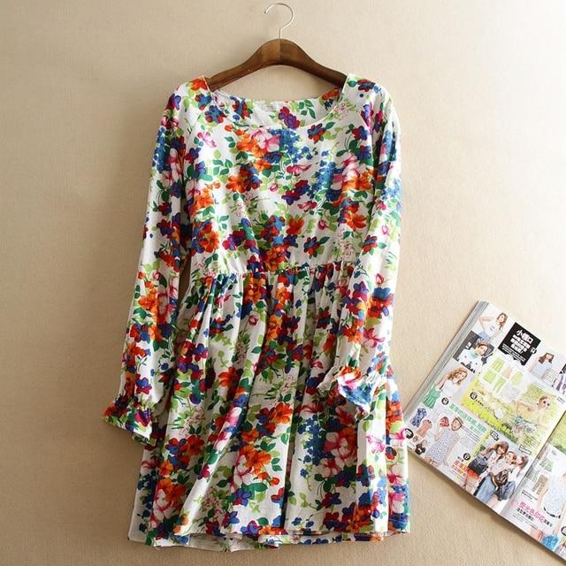 Мода высокого качества осень цветочные свободные беременность платье с длинным рукавом платье материнства хлопок лен женщины