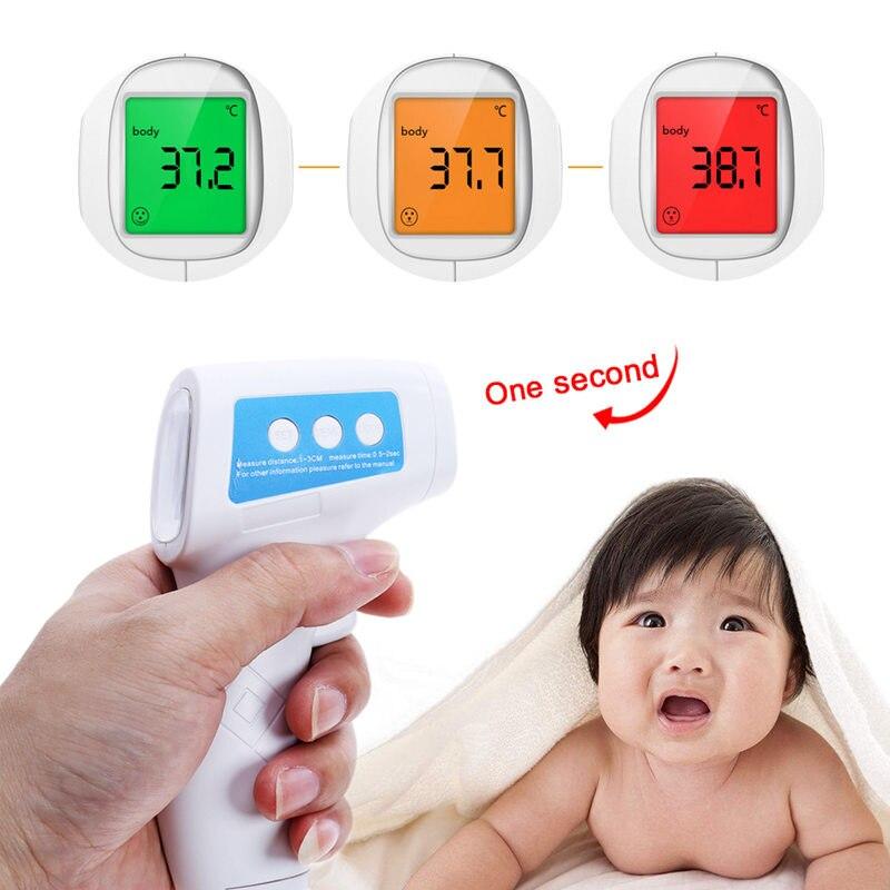 Del bambino Termometro A Infrarossi Sulla Fronte Del Corpo Temperatura Febbre Misura Senza contatto a CRISTALLI LIQUIDI Retroilluminazione Termometro Digitale per La Cura Del Bambino