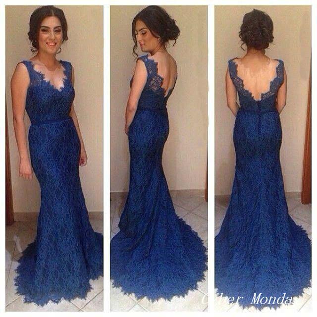 2015 Nuevo Vestido De Festa Longo Cuello En V Profundo Backless Navy Blue Lace Prom Dresses Mermaid Espalda Abierta Vestidos De Noche Largo Wh464
