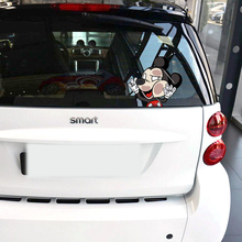 Car-styling Cute Cartoon Mickey Hit The Window Funny Car Sticker and Decal for Bmw Ford Focus 2 Mercedes Renault Volkswagen Polo