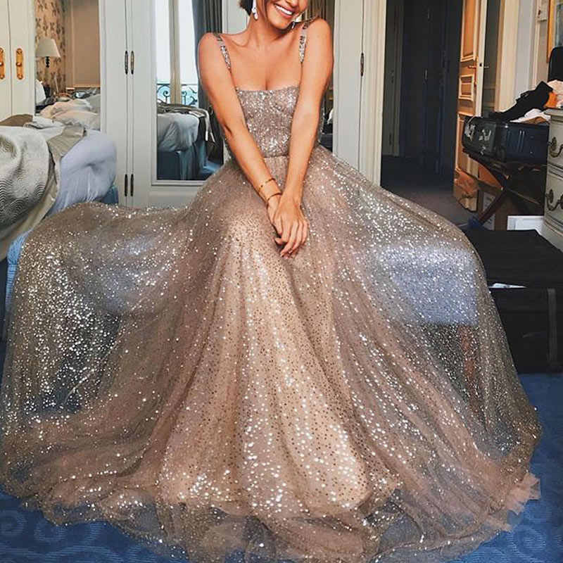 96efa88c90 fashion Sexy Party flash robe soiree Sleeveless Condole dinner Dresses Gold  Prom Gown abiye elbise evening dresses abendkleider