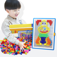 296pcs Mushroom Nail Kits Puzzle Toys 3D Mosaic Picture Puzzle Drawing Board Educational Toys Children Birthday