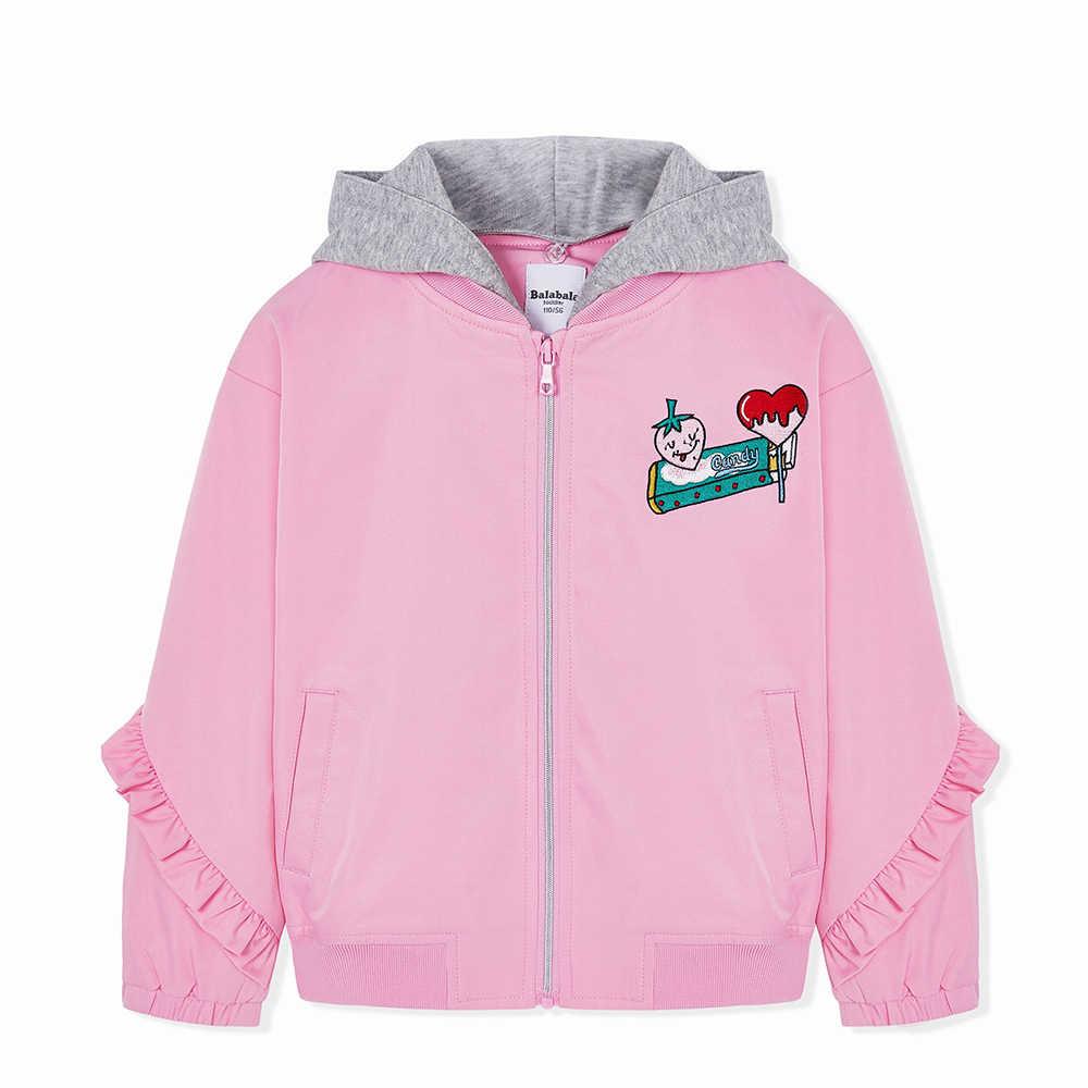 Balabala Toddler Kız Kapşonlu Ceket fırfır etekli Çocuk Çocuklar Tam zip Ceket Kontrast Hood spor ceket Sonbahar