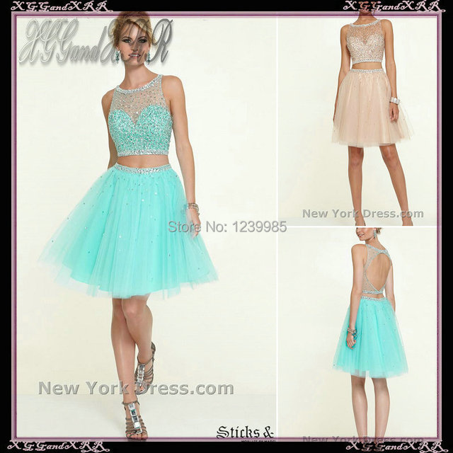 25cd44965ef Charming 2017 Winter Formal Scoop Beaded Two Pieces Short Prom Dress Light  Blue Homecoming Dresses Champagne Party Gown
