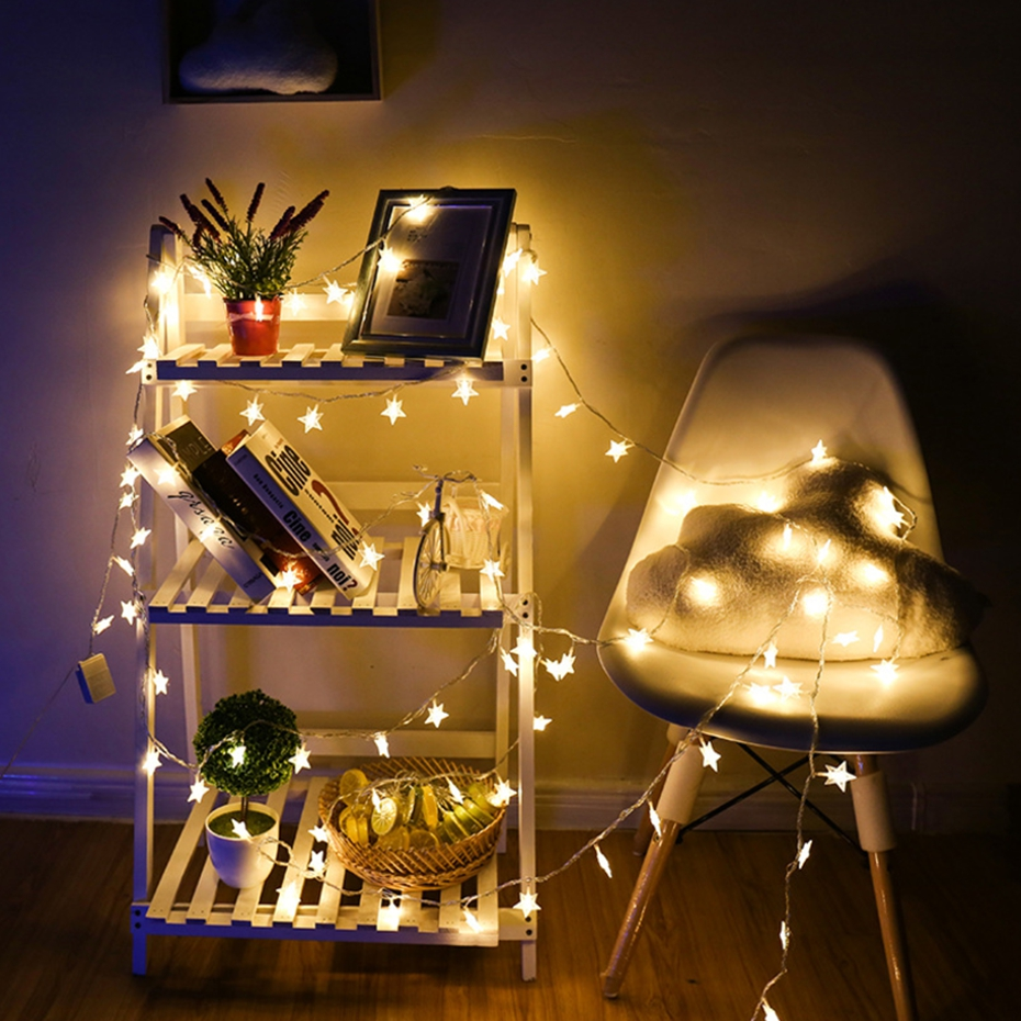 YINGTOUMAN Star Shaped Battery Power Christmas String Lights Lamp Garden Decorations for Home Outdoor Party Wedding 10m 80LED