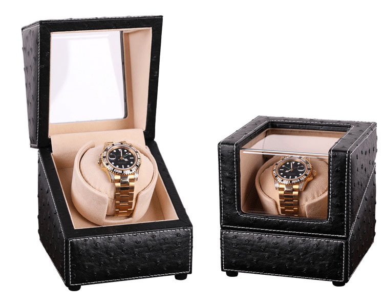 New Design Fashion Gift for 1 Watch Winder Box, Ostrich Pattern Leather Watch Winders Plug/Dry Battery Mabuchi Motor Rotate Knob watch winders case cabinet grids rotate watch motor machine box gift world use safe plug watches watch winders drop shipping new
