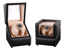 New Design Fashion Gift for 1 Watch Winder Box, Ostrich Pattern Leather Watch Winders Plug/Dry Battery Mabuchi Motor Rotate Knob