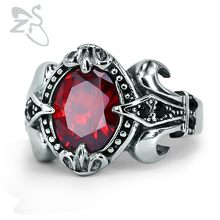 Punk Fashion Men Rings Red etro Vintage Red Ring Black Gold Filled Zircon Ring anel masculino 316L Stainless Steel Jewelry(China)