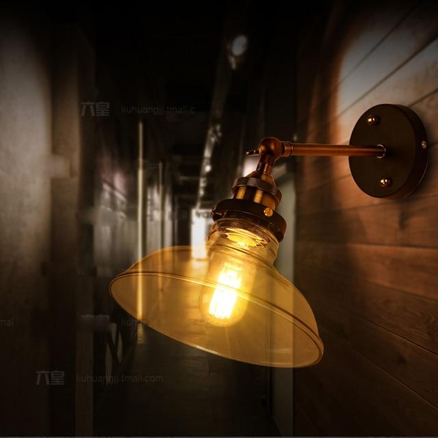 estilo loft edison vintage lmpara de luces de pared con pantalla de vidrio lmpara de pared